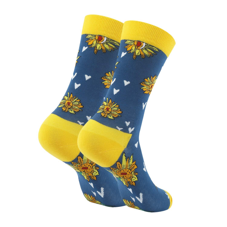 Womens Novelty Sunflower Crew Socks Colorful Flowers Funky Patterned Casual Dress Socks