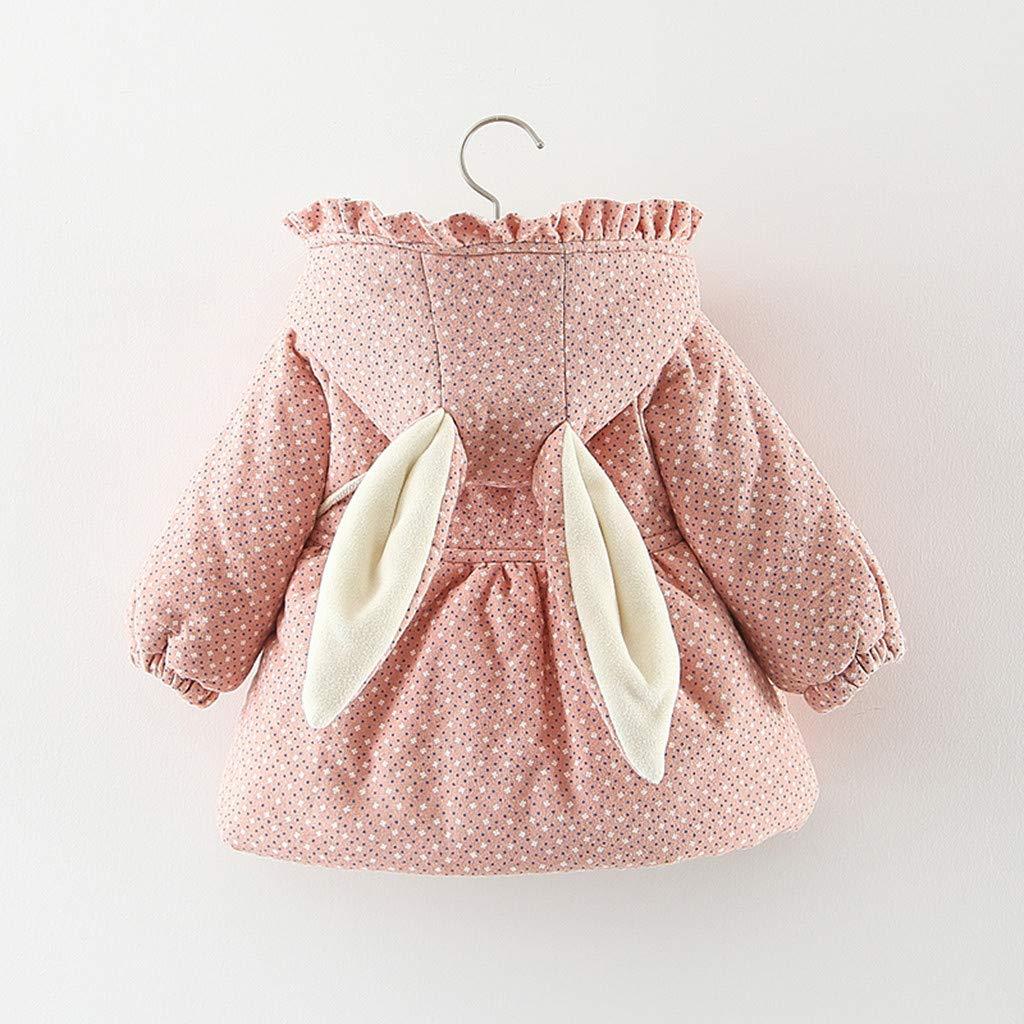 Liebestasche Bekleidung Sanahy Baby-M/ädchen Jacke Dot Bedruckt Mantel Hasenohren verdickt Plus samt warme Jacke Baumwollanzug
