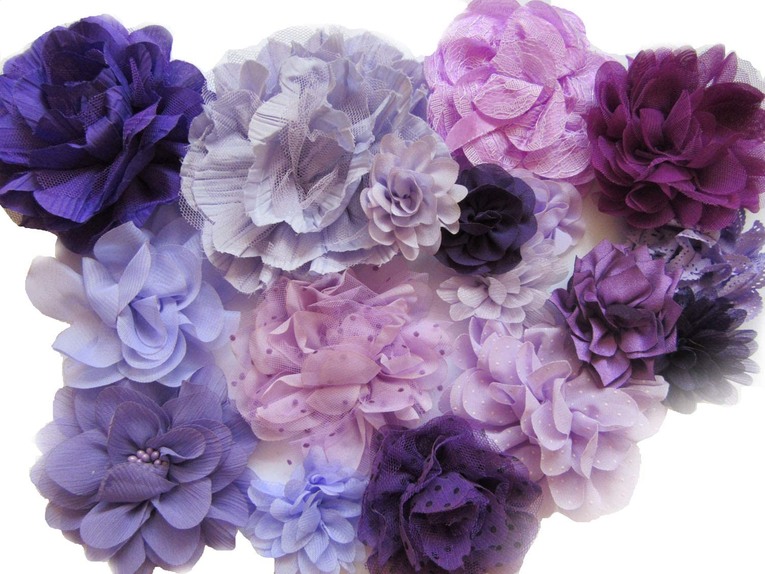 Lavender Fields One Size Fits All Soft Nylon Headband Set Purple Chiffon Flower and White Satin Flower w Shades of Purple Roses Crown