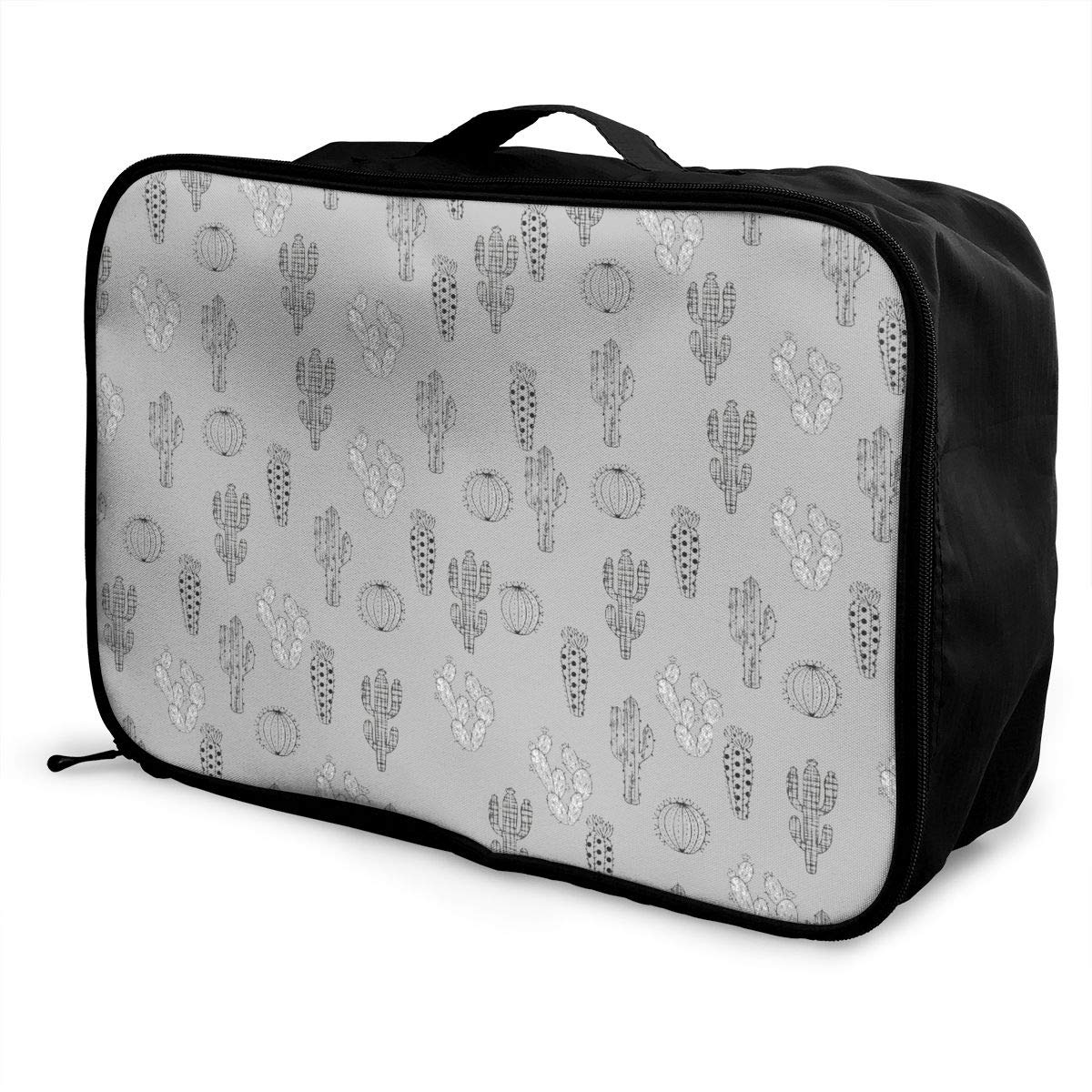 Women /& Men Foldable Travel Duffel Bag Black And White Cactus Grey For Luggage Gym Sports