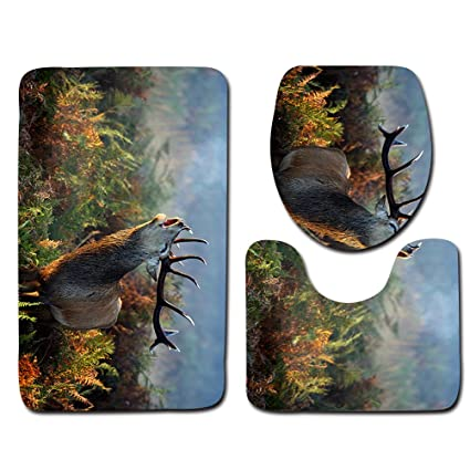 WCHUANG Bathroom Rug Set Deer Bath Rugs Decorative With Contour Rug Lid  Cover (7)