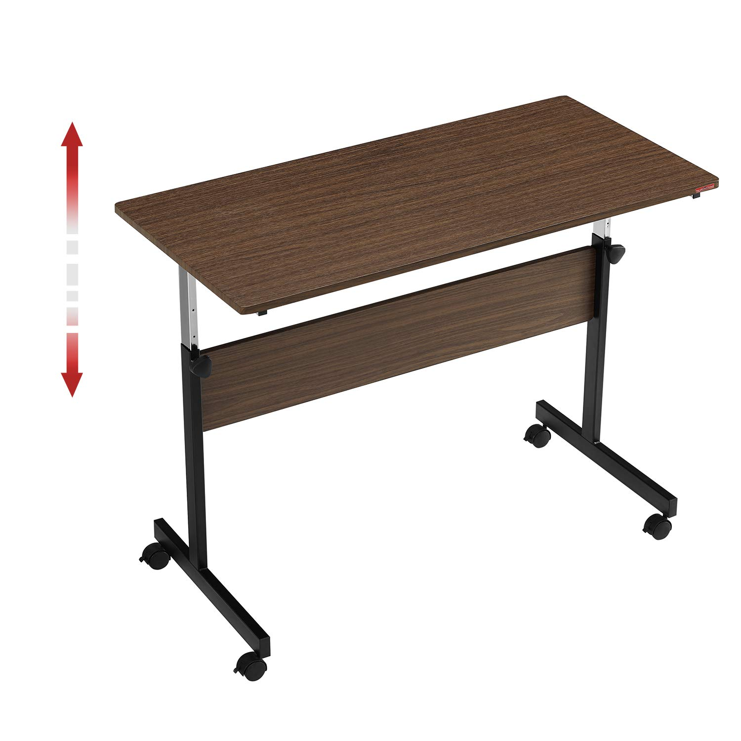 Mr IRONSTONE Height Adjustable Desk Sit-Stand 47.6'' Elevate Mobile Computer Desk Home & Office Workstation with Rolling Wheels (Walnut)