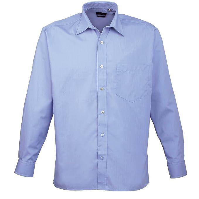 Premier Camisa Lisa de Manga Larga con Bolsillo Formal/para Trabajar Caballero/Hombre: Amazon.es: Ropa y accesorios
