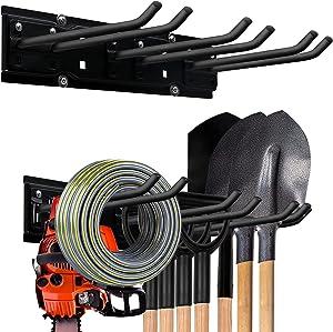 Garage Storage Organization Tool Storage Rack,Garden Hose Holder,Heavy Duty Tool Organizers Garage Wall Mount Hooks, Space Saving Max 300 lbs Garden Yard Tool Organization