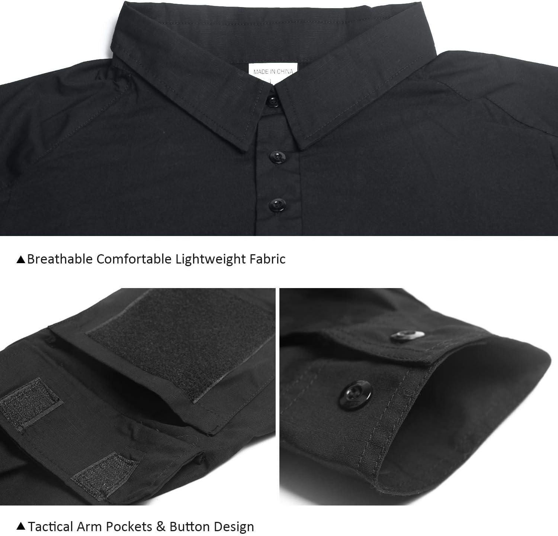 LHHMZ Camisa de Manga Larga Negra Militar para Hombre Camo de Combate Camisas de Senderismo para Casual y al Aire Libre