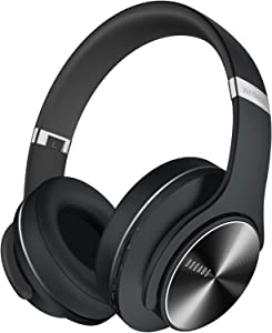 DOQAUS Bluetooth Headphones Over Ear, 52 Hours Playtime Wireless Headphones with 3 EQ Modes, HiFi Stereo Headphones with Microphone and Soft Protein Earpads for iPhone/TV/PC/Home Office (Black)