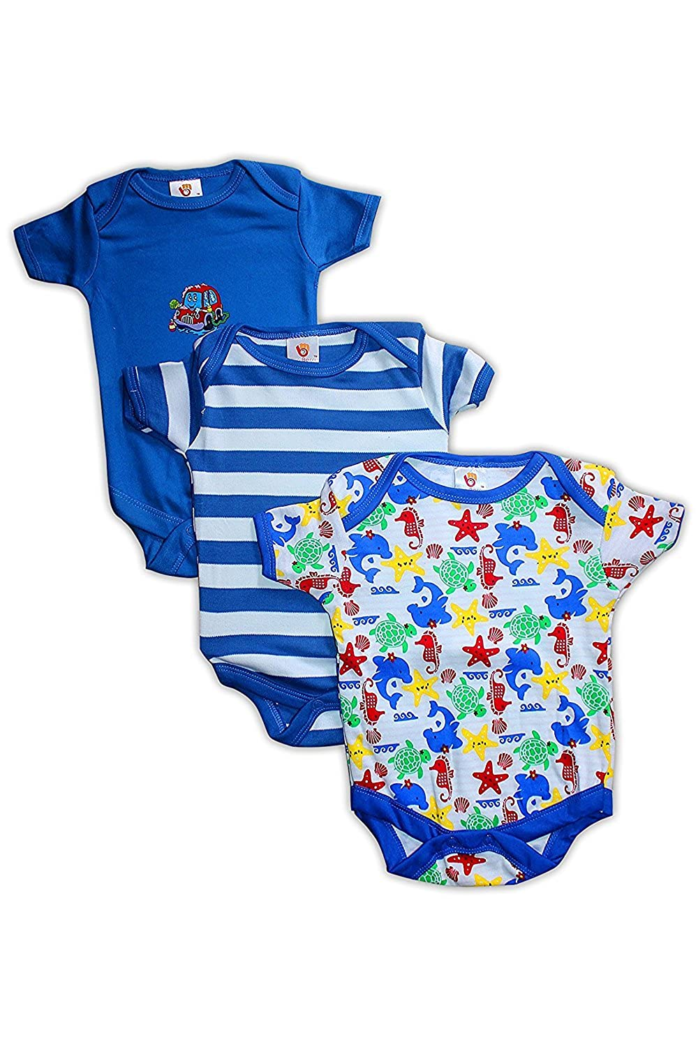 1b6a90d52 Baby Station Baby Rompers Short Sleeves 3pcs Summer Suit for Baby Boy  (Print May Vary)  Amazon.in  Clothing   Accessories