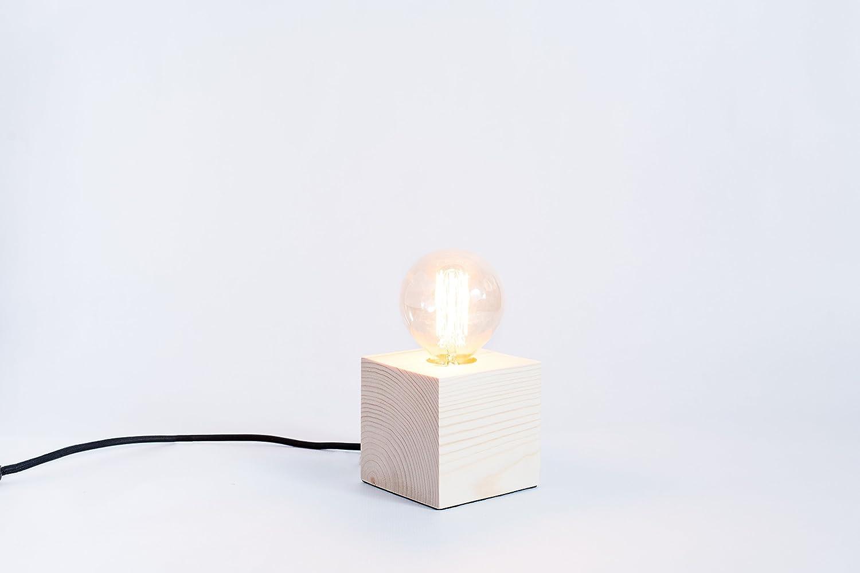 Lámpara de madera, lámpara edison, lámpara handmade, lámpara de mesa, lámpara de diseño, lámpara cuadrada. Lámpara Reikiavik.