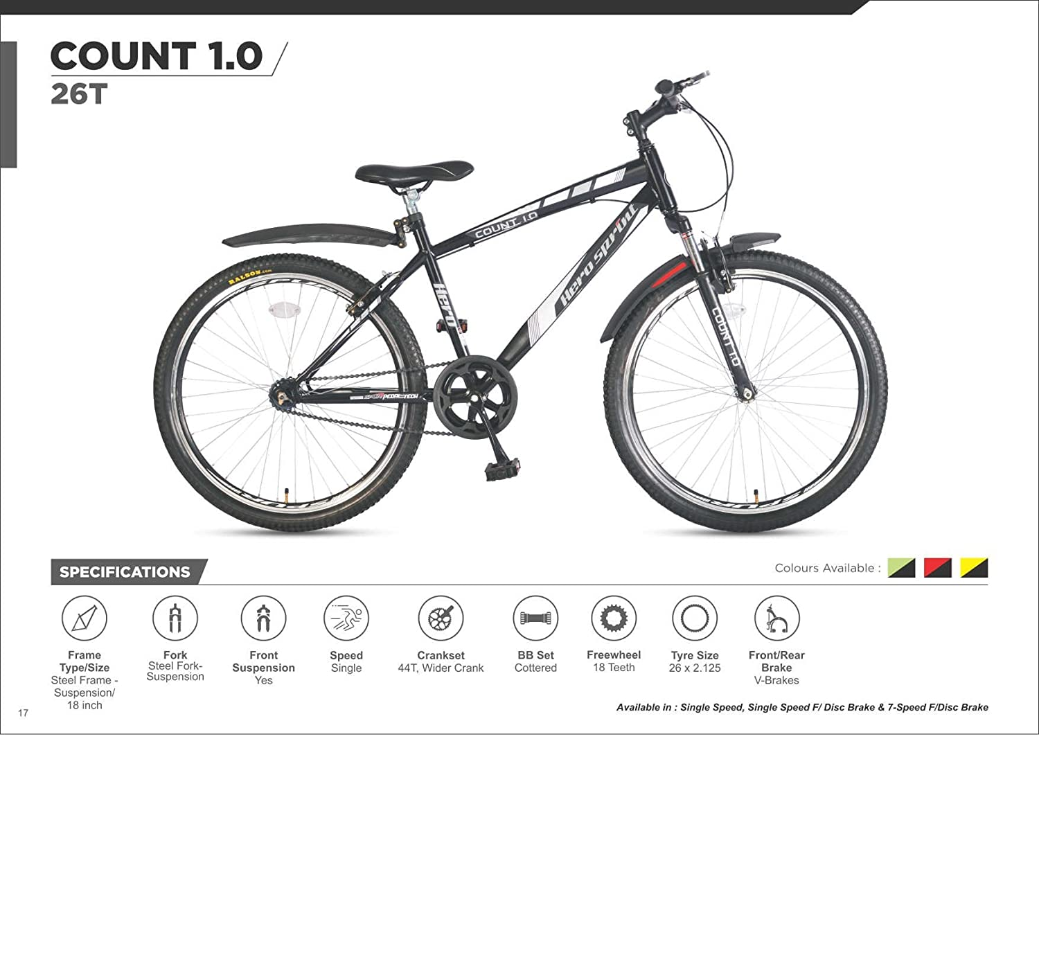 Hero Sprint Count 1.0 26T Single Speed with Front Disc Brake