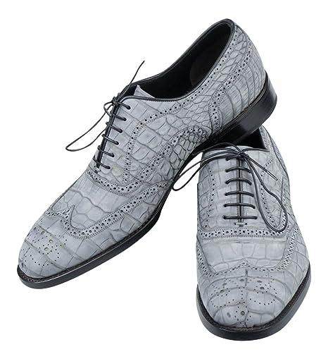classic fit ff709 3e05a Brioni coccodrillo in pelle scamosciata grigio scarpe ...