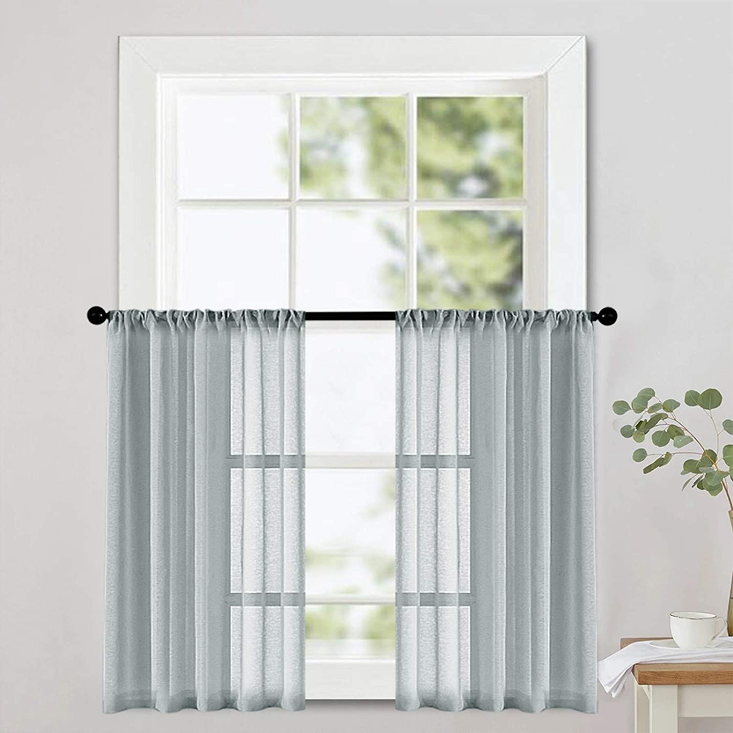 MRTREES Grey Sheer Tier Curtains Kitchen 12 inch Length Voile Half Window  Curtains Transparent Light Filtering Short Curtain Sheers Bathroom Rod ...