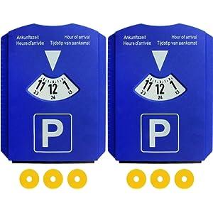 Lot de 2 Disque de stationnement avec grattoir à glace, Stationnement pour Voiture avec 3 Jeton pour chariot, plastique, bleu, m & H de 24