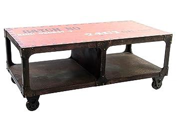 MESA 137710 MADERA 121X61X48 CAFE Mesa madera con ruedas, estilo industrial, color negro y rojo.: Amazon.es: Hogar