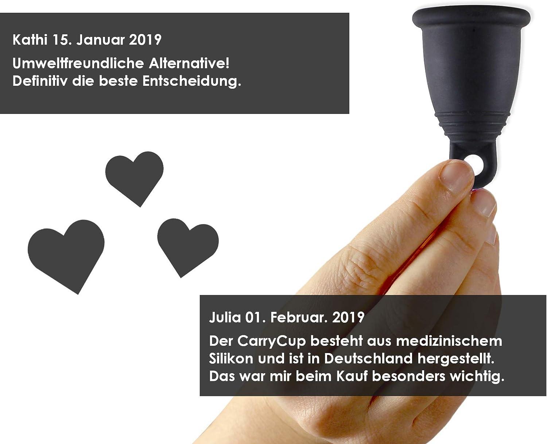 CarrieCup - Copa menstrual pequeña, fabricada en Alemania, sin BPA, alternativa a tampones y compresas, sin silicona, incluye bolsa negra
