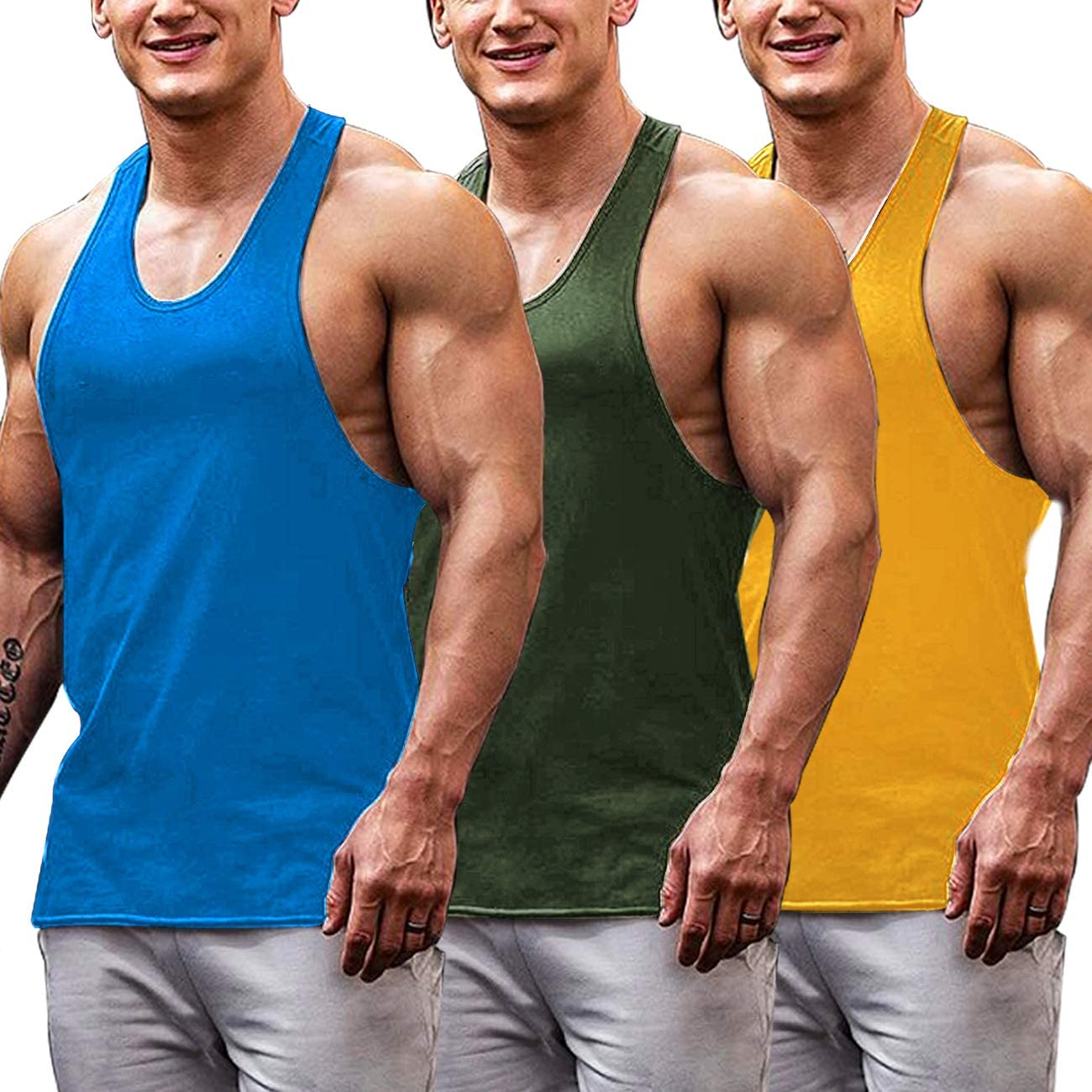 COOFANDY Mens 3 Pack Gym Tank Tops Y-Back Muscle Tank Fitness Training Sleeveless T-Shirts