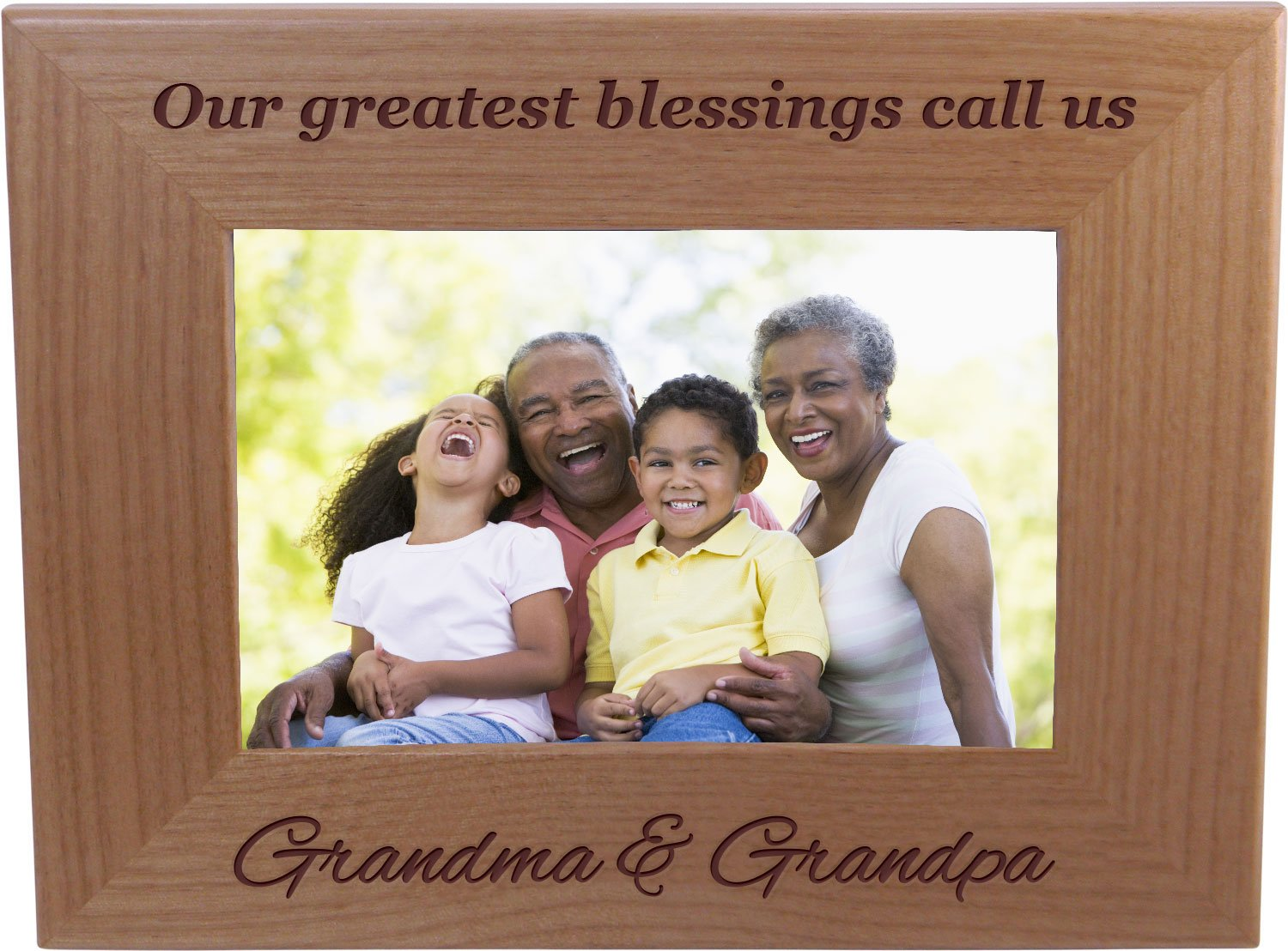 CustomGiftsNow Our Grestest Blessings Call Us Grandma & Grandpa 4-inch x 6-Inch Wood Picture Frame