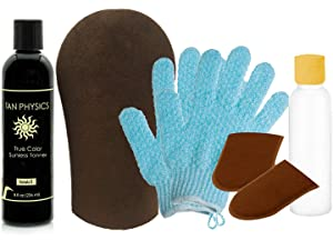 Tan Physics & (7pcs) Deluxe Tanning Mitt Bundle - Face & Body Tanner Mitts, 2 Hydro Exfoliation Gloves, Empty Travel Bottle and 8oz True Color Sunless Tanning Lotion