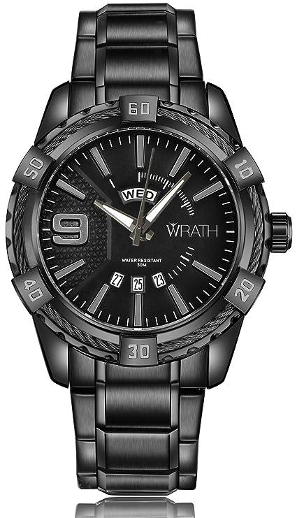 Wrath Pride Jet Black Metal Chain Wrist Watch for Men & Boys