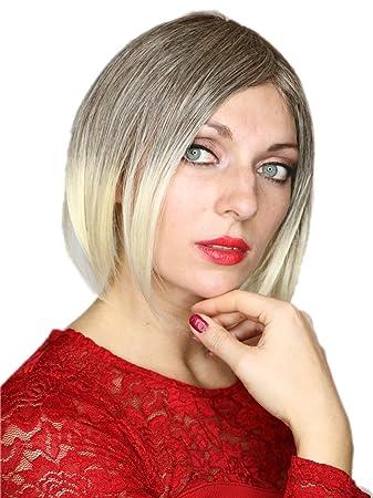 Prettyland Ombré Haar Glatte Grau Weißblond Strähnen Kurz Bob Trendy Frisur Perücke Wig C506