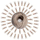Z&S Groups Mini Clothespins Interior Decorating-Natural Wooden Photo Paper Peg Pin Graft Clips-Wooden Clothespins 50 Pieces with Jute Twine-Natural Twine 295ft.