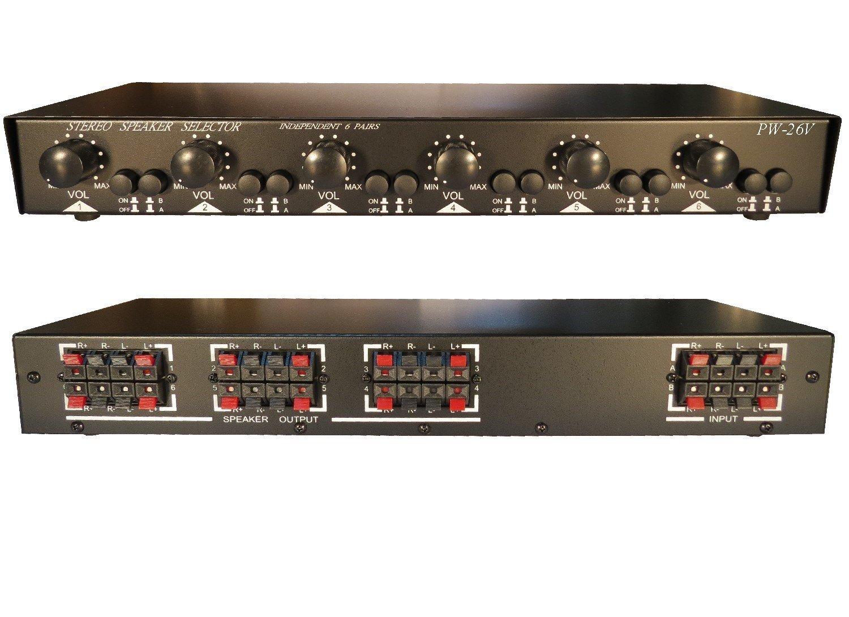 2X6 Matrix Speaker Selector Switch Switcher Volume Level Control, 2-AMP 6-ZONE 900-Watt