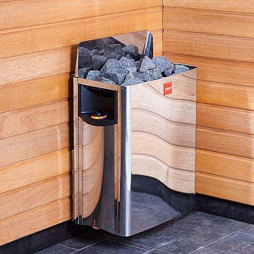 Harvia The Wall SW90 9kW Elektrische Saunaofen mit integrierte Steuerung; Multispannung entweder Einphasig oder 3-Phasig; Edelstahl