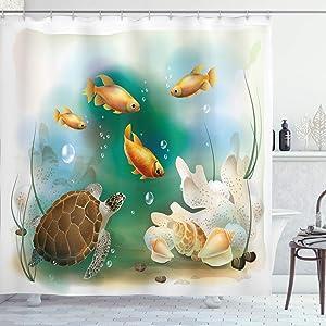 Ambesonne Turtle Shower Curtain, Ocean Life Illustration of Aquarium Tropical Animals Goldfishes and Seashells Vintage Underwater Art, Cloth Fabric Bathroom Decor Set with Hooks, 70