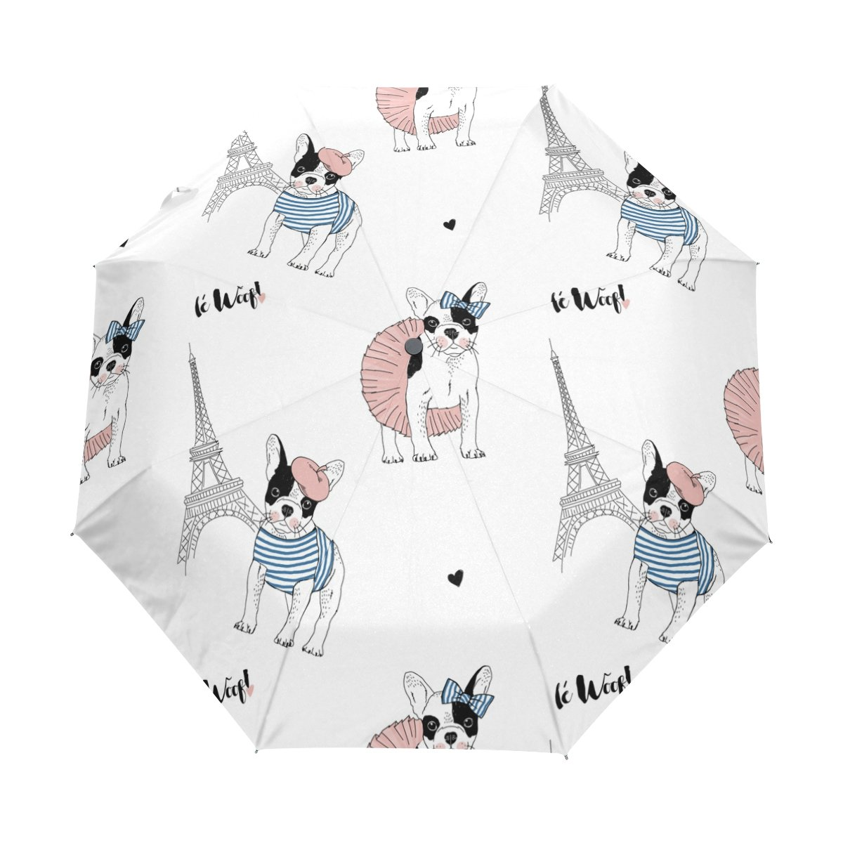 lavovoフレンチブルドッグパリエッフェル塔傘両面キャノピー自動開く閉じる折りたたみ式旅行雨傘 B0756SVKKF