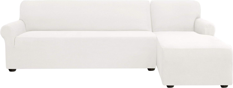 Subrtex - Funda de sofá en forma de L, elástica, antideslizante, tejido suave lavable (derecha de 2 plazas, color crema)