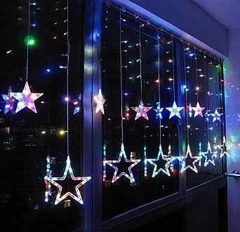 Weihnachtsbeleuchtung Fenster Batterie.Smithroad 132er Led Lichterkette Batteriebetrieben Und Usb Betrieben Sterne Lichtervorhang Fernbedienung Timer 8 Modi Weihnachtsbeleuchtung Für Innen