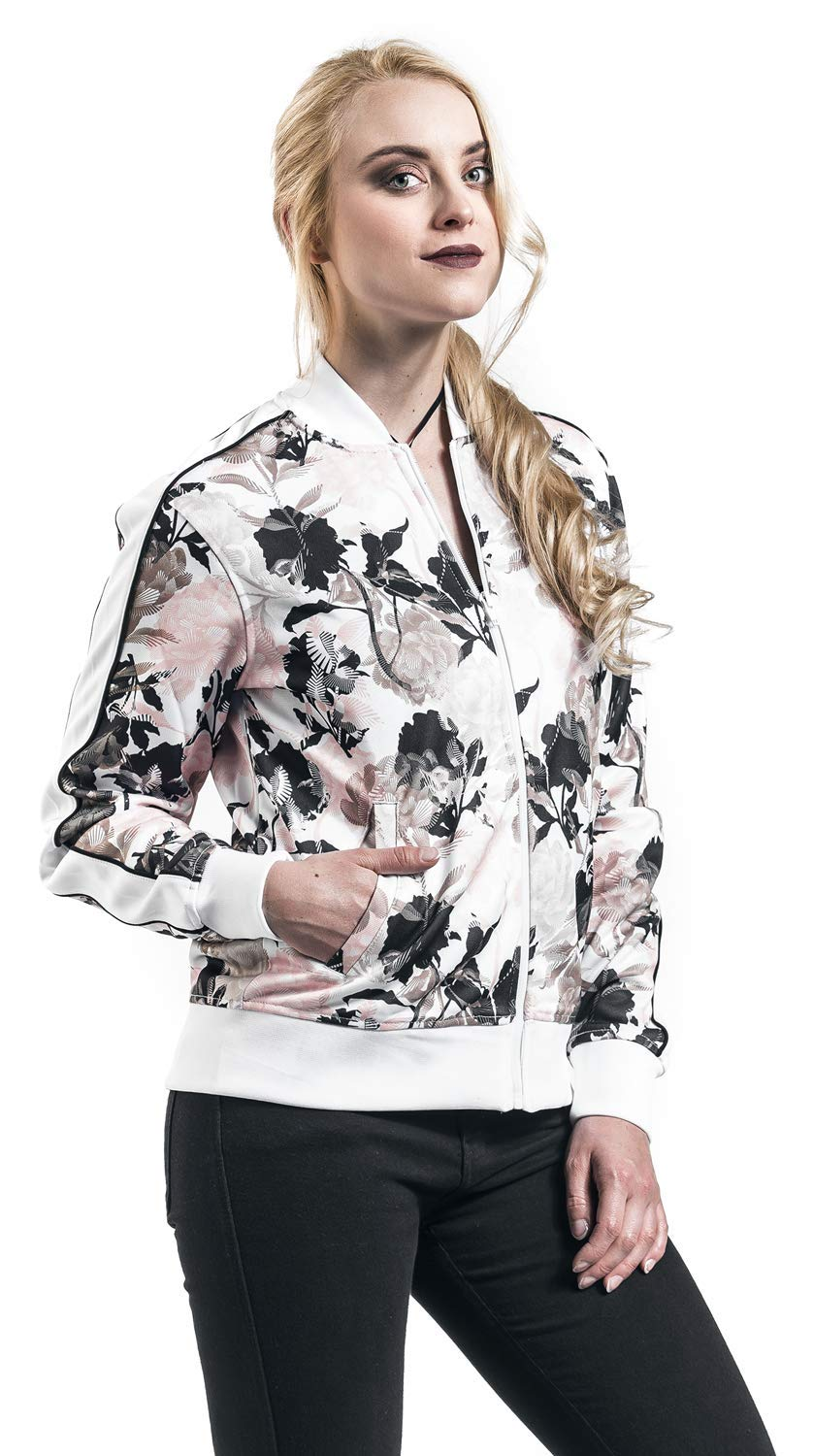 Multi Floral Mujer Converse White Track Chaqueta Jacket Linear CR481wHq