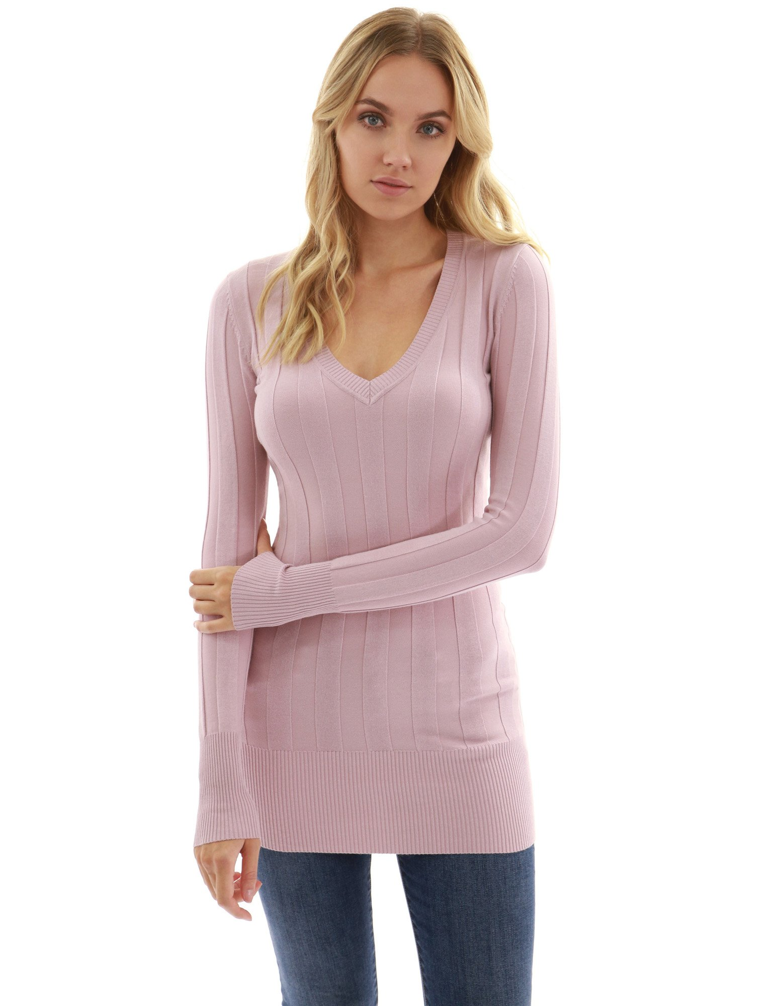 PattyBoutik Women V Neck Ribbed Tunic Knit Top (Pink Large)