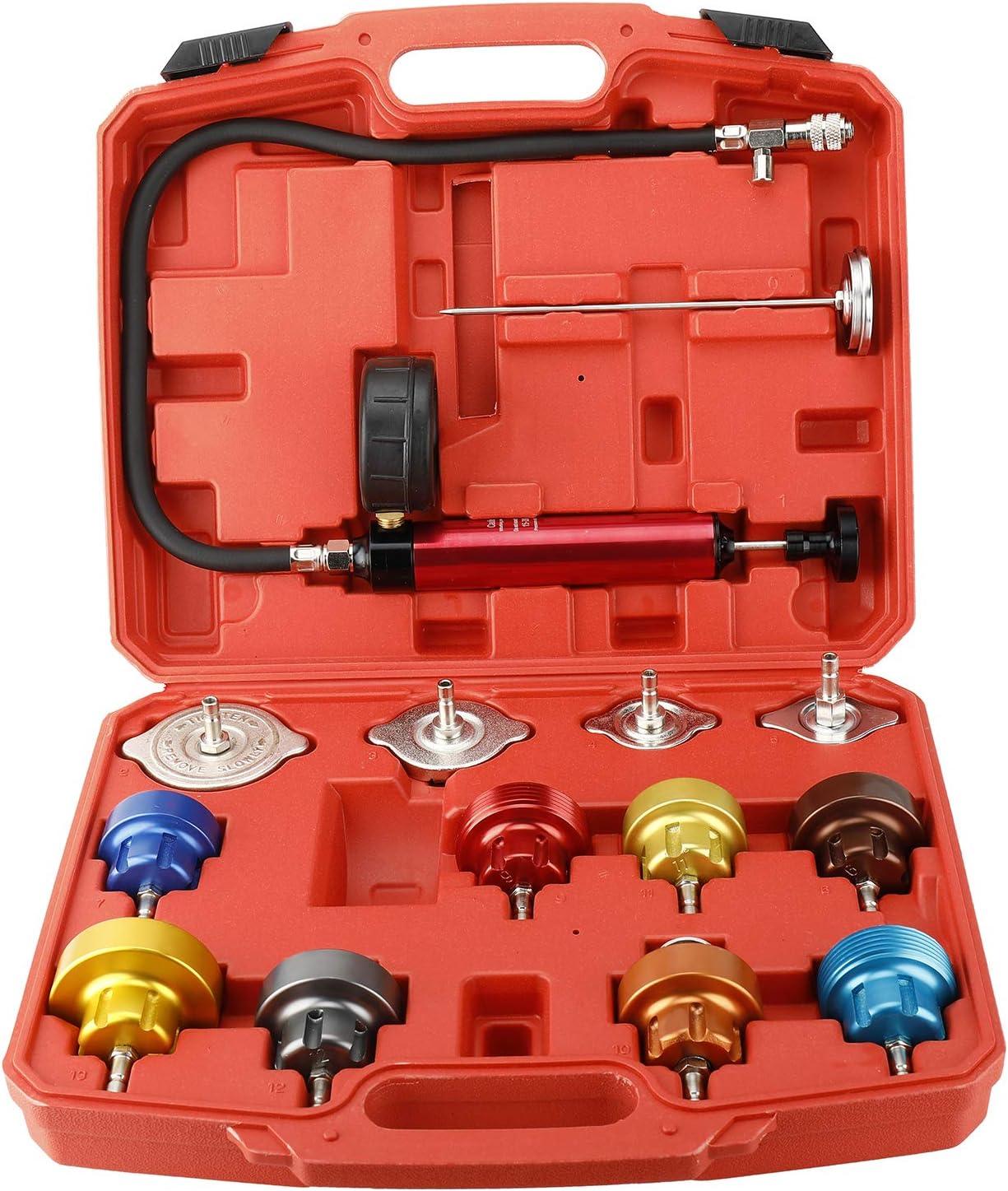 FreeTec® - 14 adaptadores de aluminio para comprobador de fugas de bomba de radiador, con funda