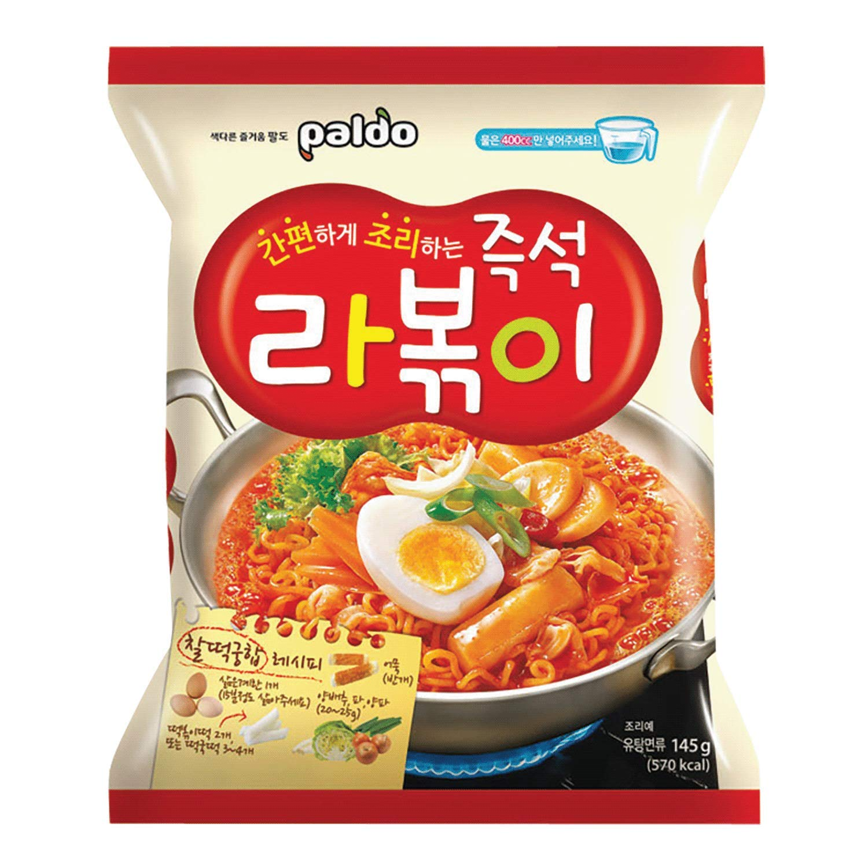 Paldo Fun & Yum Rabokki Ramen, Soupless Stir-Fried Noodles with Sweet & Spicy Seasoning Sauce, Tteokbokki Taste, Best Oriental Style Korean Ramyun, Brothless K-Food, 즉석 라볶이 145g x 8 Pack