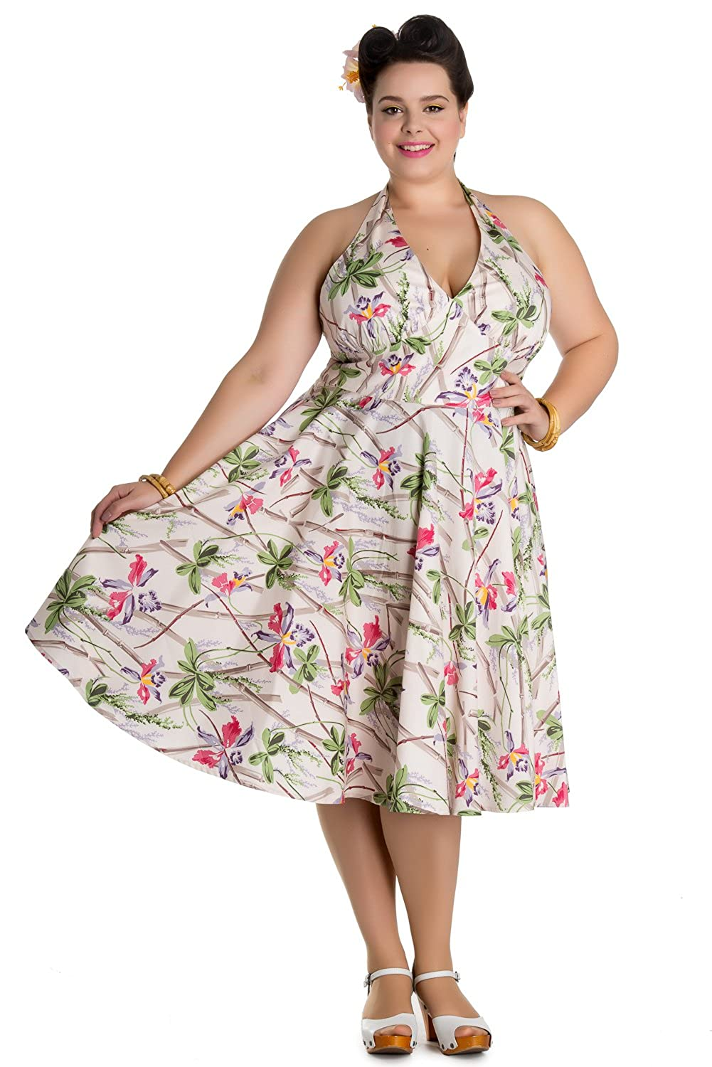 1950s Swing Dresses Hell Bunny Bamboo and Floral 50s Retro Tiki Dress $66.00 AT vintagedancer.com