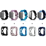MAIRUI Apple Watch Band Case 42mm, 5 Pack Soft Silicone iWatch Strap with TPU iWatch Bumper Cover Adjustable Replacement Wristband Men Women For Apple Watch Series 2/1, Sport/Edition/Nike+