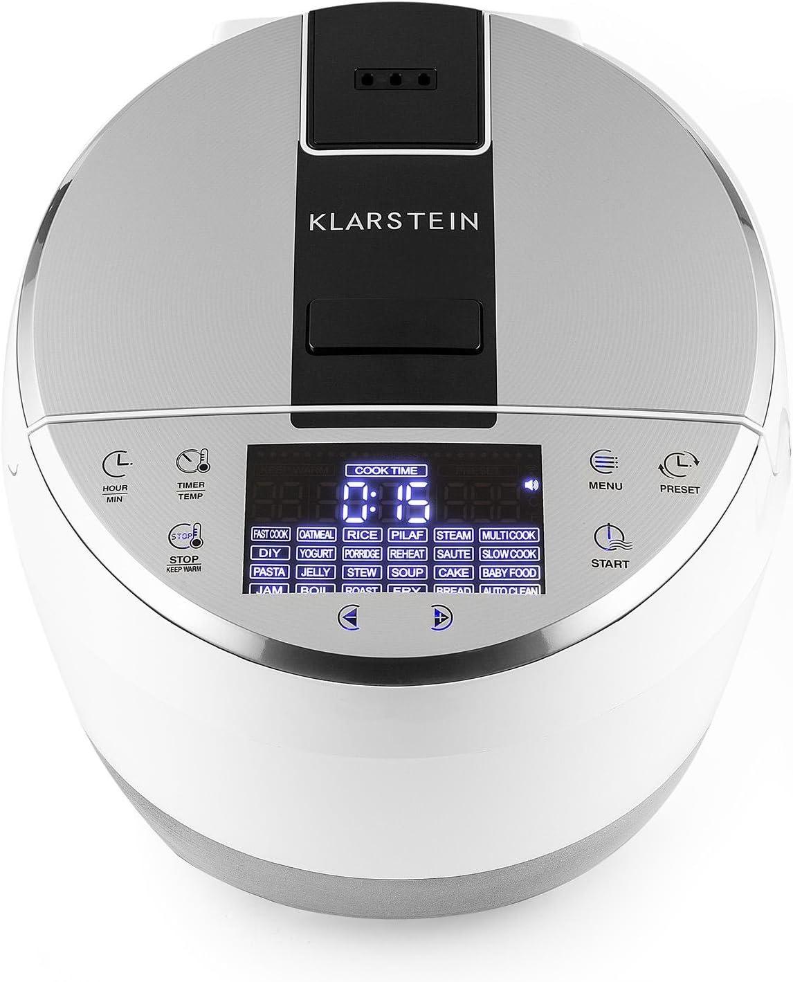 Klarstein Hotpot Multi Cooker Temperaturen von 35/° bis 160/°C 950 Watt Heizelement Multifunktionskocher Antihaftbeschichtung wei/ß 22 voreingestellte Kochfunktionen