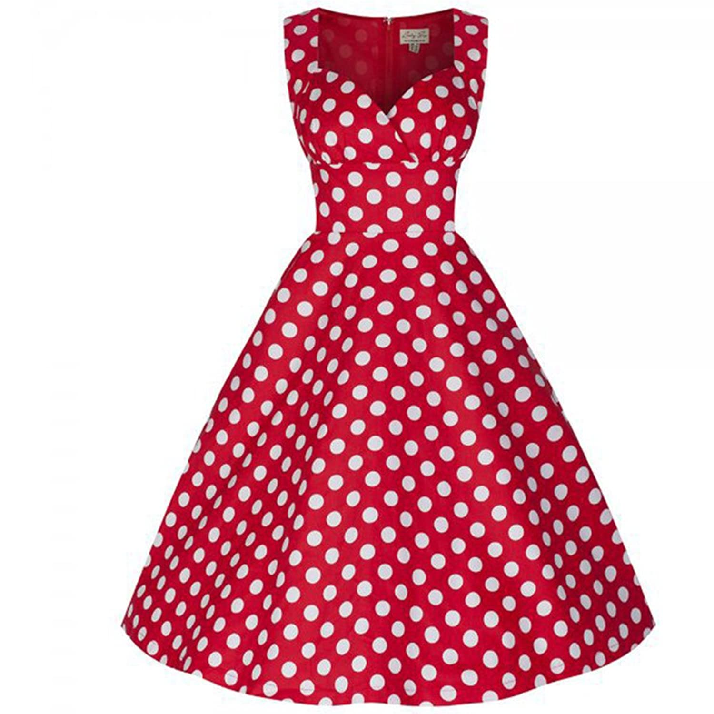 WintCO Damen Audrey Hepburn Stil Rockabilly Kleid mit Punkte Retro Abendkleid Swing Evening Dress Aermellos Wrapped Tanzkleid