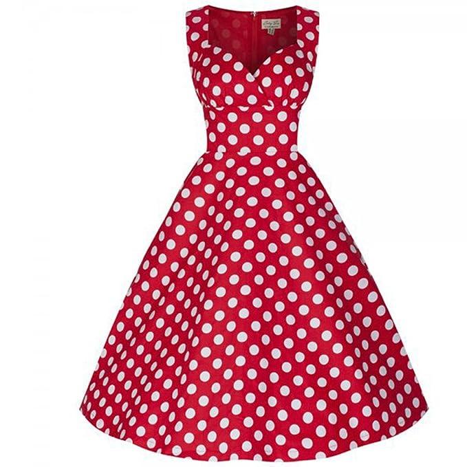 WintCO Vestidos Retro Vestidos de Lunares Vestidos Vintage Plisado para Baile Nocturno sin Mangas Audrey Hepburn