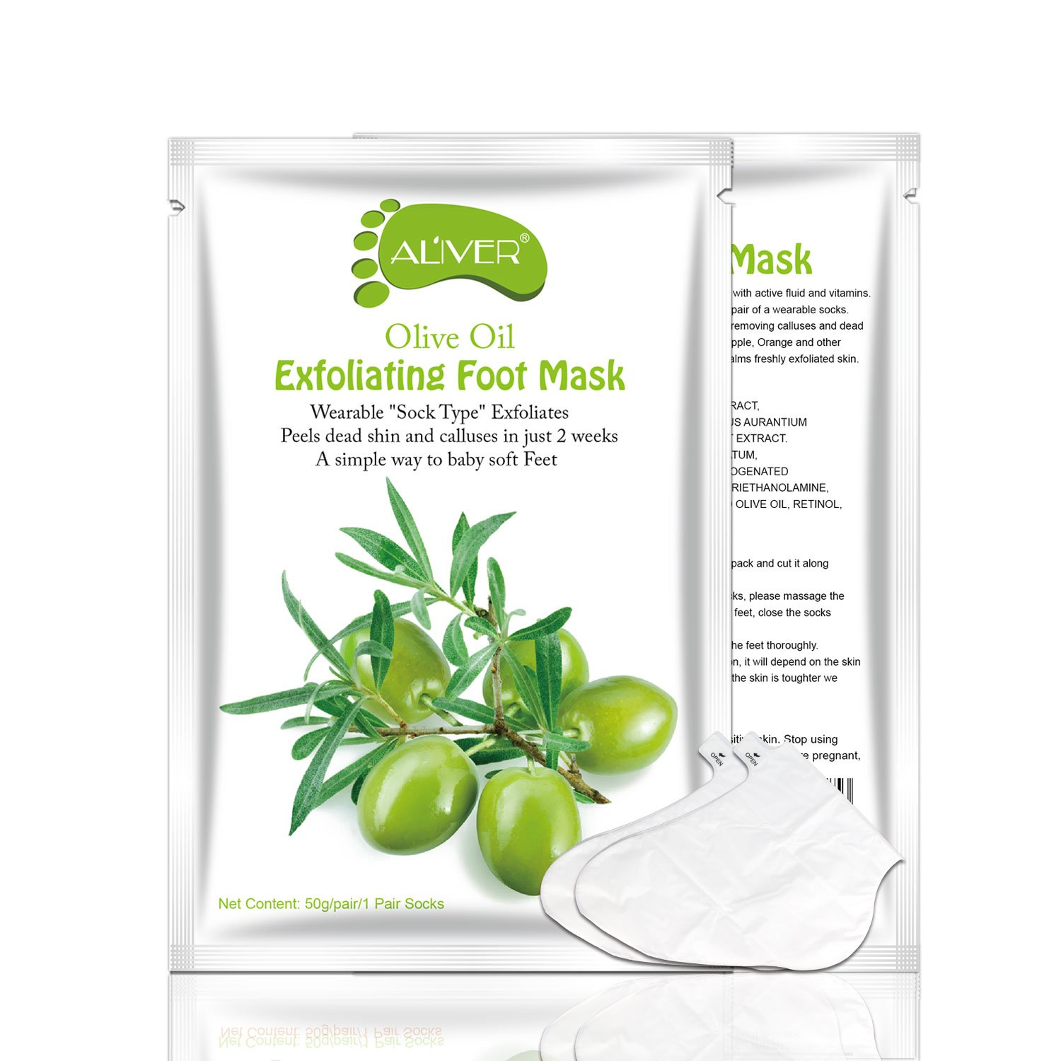 3 Pairs Exfoliating Foot Peeling Mask Organic Dead Skin Remover Silky Soft Baby Your Feet Naturally (Olive) AL' IVER Beauty