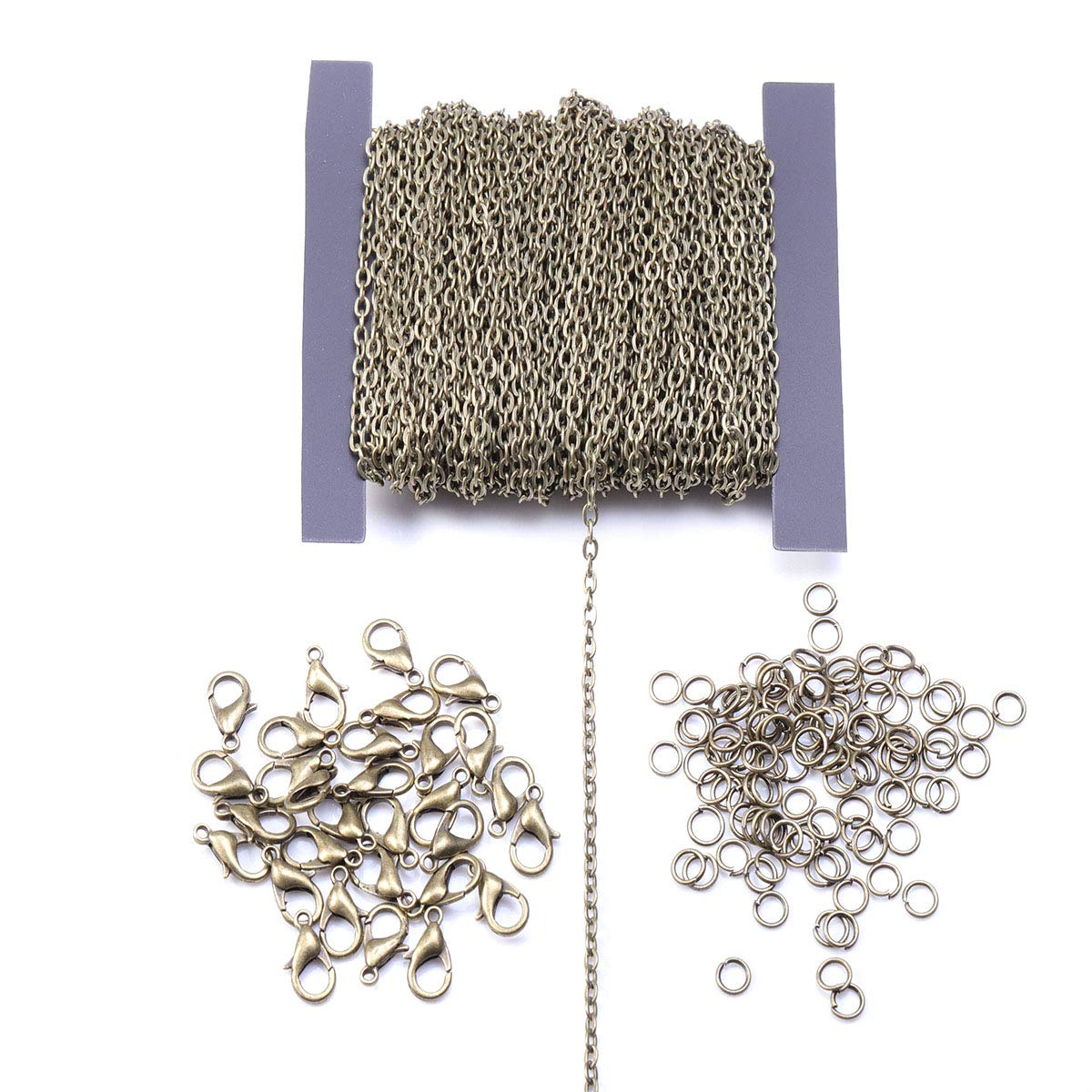 Silver 3x4mm Cable Link Chain with 30 Pcs Lobster Clasps and 100 Pcs Open Jump Rings for DIY Jewelry Making Numblartd 39Ft Electroplate Flat Pressure Curb Cross Chain Cable Twisted Iron Link