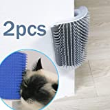 2 Pack Softer Cat Corner Self Groomer with Catnip Wall Corner Massage Comb Corner Scratcher Pet Grooming Brush Comb Grooming Wall Brush Self Massage Tool for Long & Short Fur Kitten Cats Dogs (Gray)