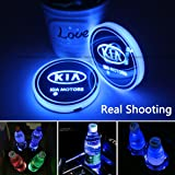 2pcs LED Car Cup Holder Lights for KIA, 7 Colors Changing USB Charging Mat Luminescent Cup Pad, LED Interior Atmosphere…