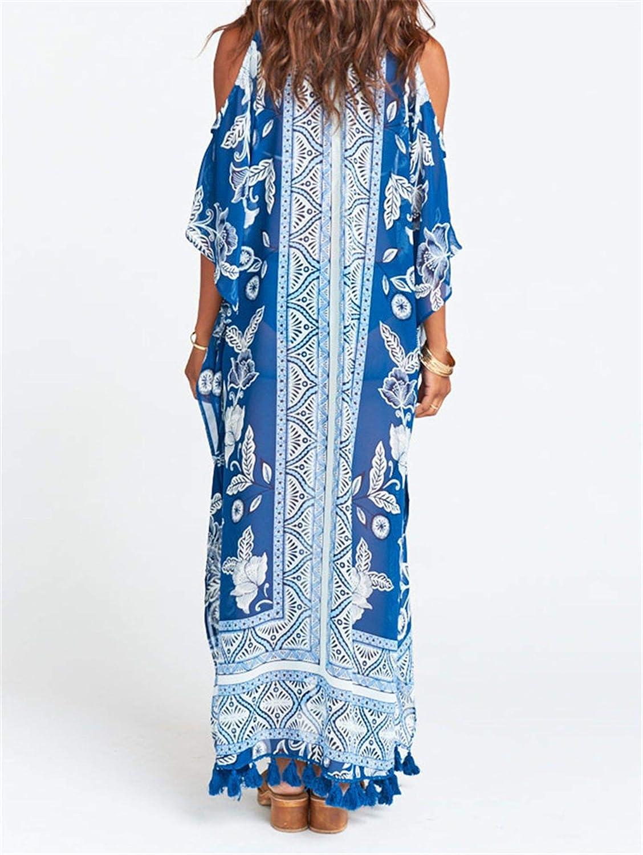 uanfuyicen Tassel Beach Tunic Summer Beach Cover Up Bikini Bathing Suit Cover Up Beach Tunic Dress Beachwear,Blue