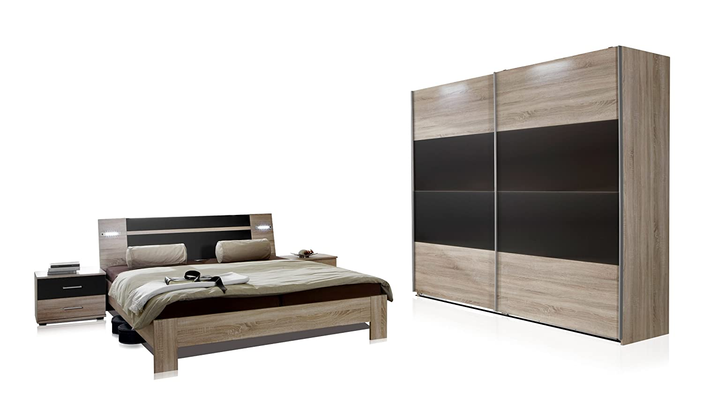 Wimex Schlafzimmer Set Mit Bett, Nachttisch/ Nachtschrank 2 Er Set,  Kleiderschrank/ Schwebetürenschrank Menorca, Liegefläche 160 X 200 Cm,  Eiche Sägerau/ ...