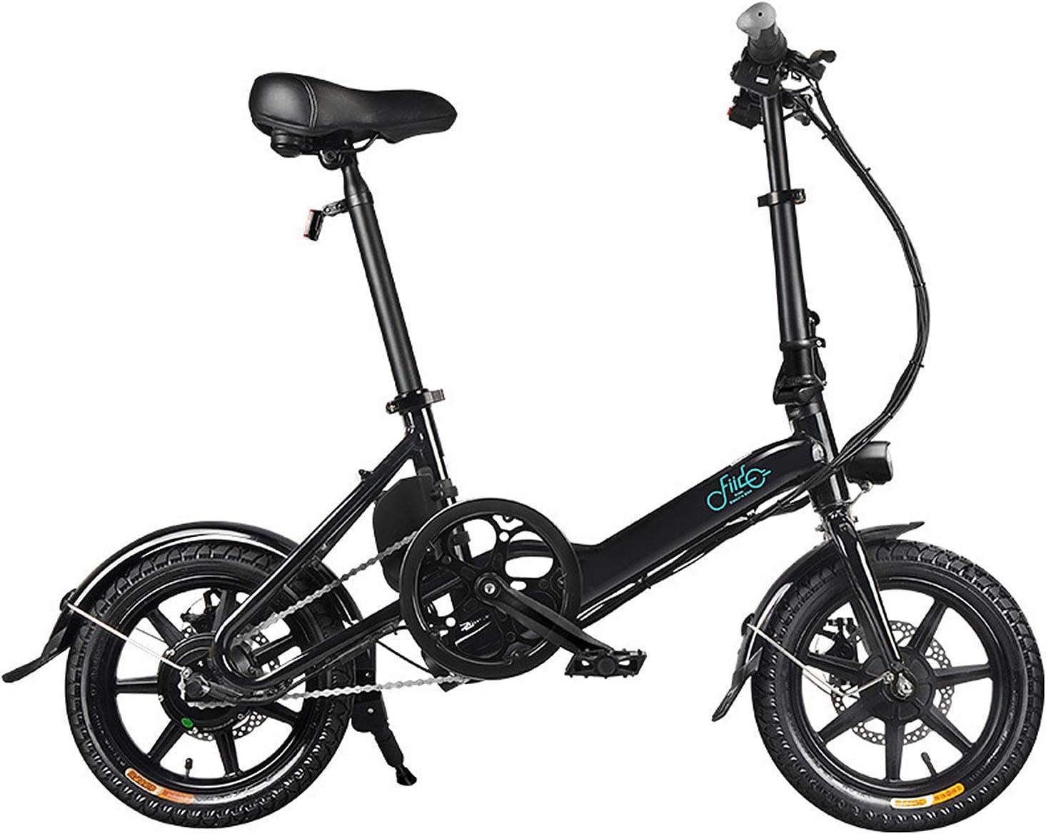 Bicicleta Eléctrica Plegable Bicicleta Plegable Señora, 250W Ligero Ajustable E-Bici con Los Faros Y La Exhibición De LED con 3 Modos De Montar A Caballo Velocidad Máxima 25 Kmh,Negro,36V 7.5Ah