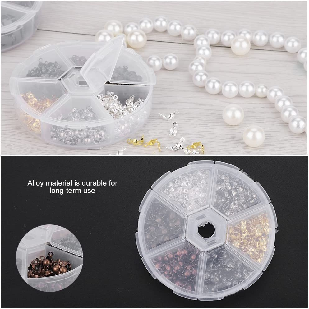 Jewelry Finding Making Kit 360pcs//box 5mm Calottes End Crimps Beads Tips