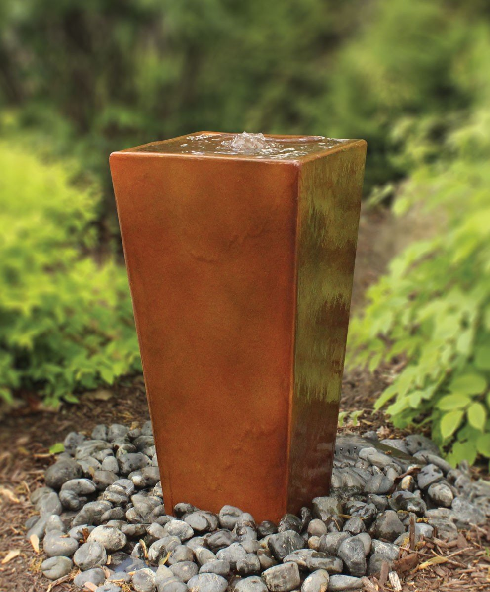 Easy Pro H2ST Four Sided Square Tall Vase Fountain, 24'', Brown