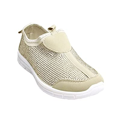 e7460425295 Womens Casual Diamante Slip On Gym Glitter Sneakers Flats Pumps Sports  Trainers Shoes PL07 Beige 3