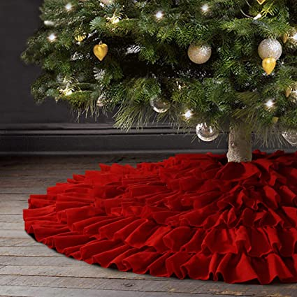 Ivenf Christmas Tree Skirt, 48 inches Large Red Fleece 6-Layer Ruffled Skirt, Rustic Xmas Tree Holiday Decorations best Christmas tree skirts